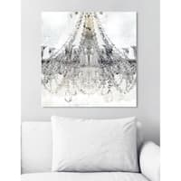 Oliver Gal 'White Gold Diamonds Square' Fashion and Glam Chandeliers Canvas Art - gray, gold