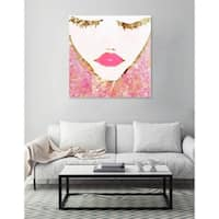 Oliver Gal 'Goldbloom Coveted Square' Pink Fashion and Glam Wall Art Canvas Print