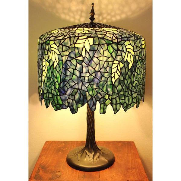 ... Glass Tiffany-inspired Grand Wisteria Table Lamp with Tree Trunk Base
