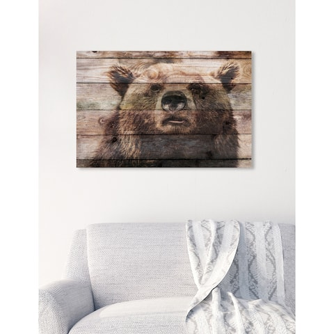 Oliver Gal 'Bear On Watch' Animals Wall Art Canvas Print - Brown