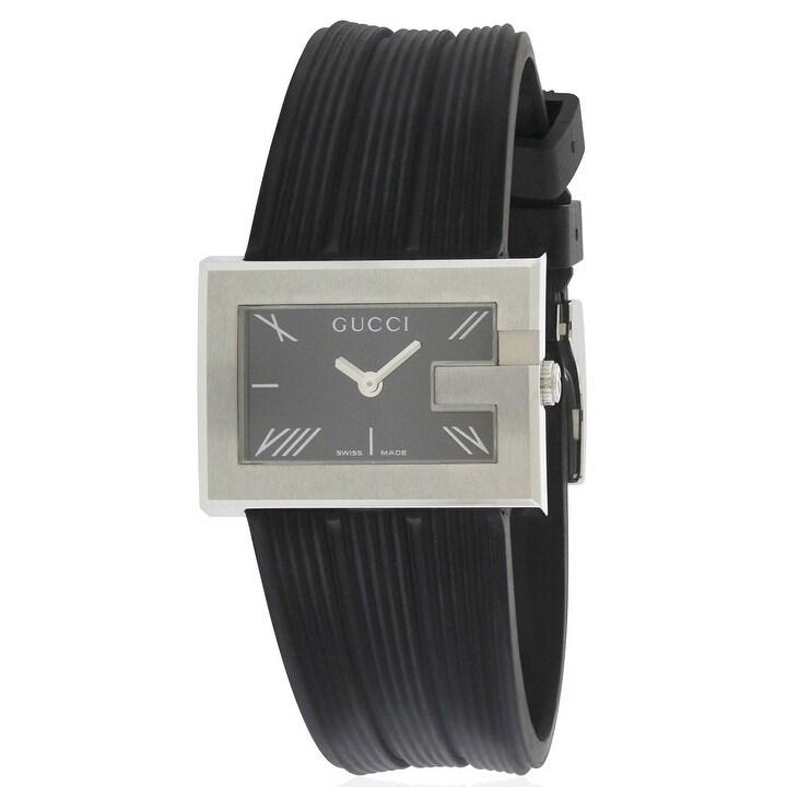 Gucci 100 G-Rectangle Series Ladies Watch YA100504, Black...