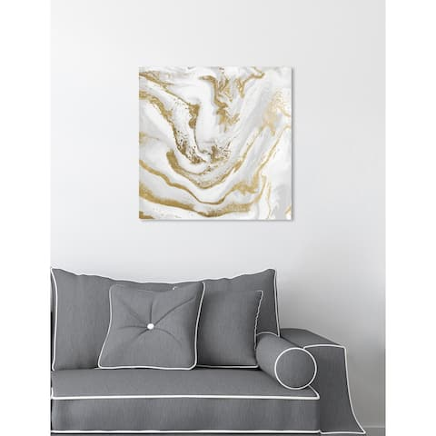 Oliver Gal 'Marbellized Beauty Day' Abstract Wall Art Canvas Print - White, Gold