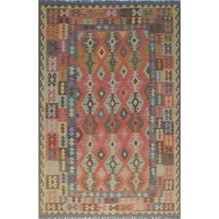 Sangat Kilim Raihana Rust/Blue Rug (6'6 x 9'11)