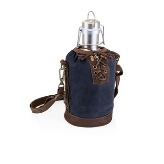 LEGACY® Insulated Navy & Brown Growler Tote with 64-oz. Stainless Steel Growler