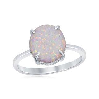 La Preciosa Sterling Silver Created White Opal Four-Prong Oval Ring