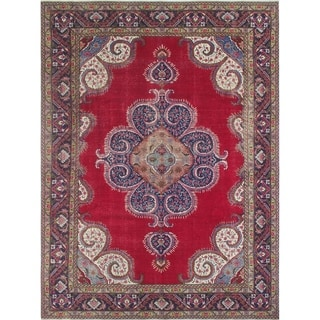 "Noori Rug Vintage Distressed Askar Red/Blue Rug - 9'6"" x 12'11"""