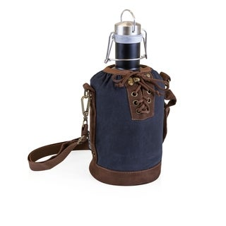LEGACY® Insulated Navy & Brown Growler Tote with 64-oz. Matte Black Stainless Steel Growler