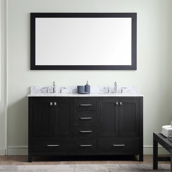 Virtu USA Caroline Premium 60-inch White Marble Double Bathroom Vanity