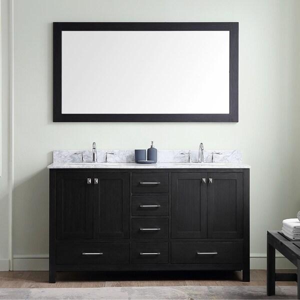 Virtu USA Caroline Premium 60-inch White Marble Double Bathroom Vanity Set