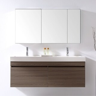 Zuri 55-inch Ultra Modern Double Vanity Set Faucet Options No Mirror