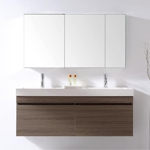 Zuri 55-in Ultra Modern Double Vanity Set Faucet