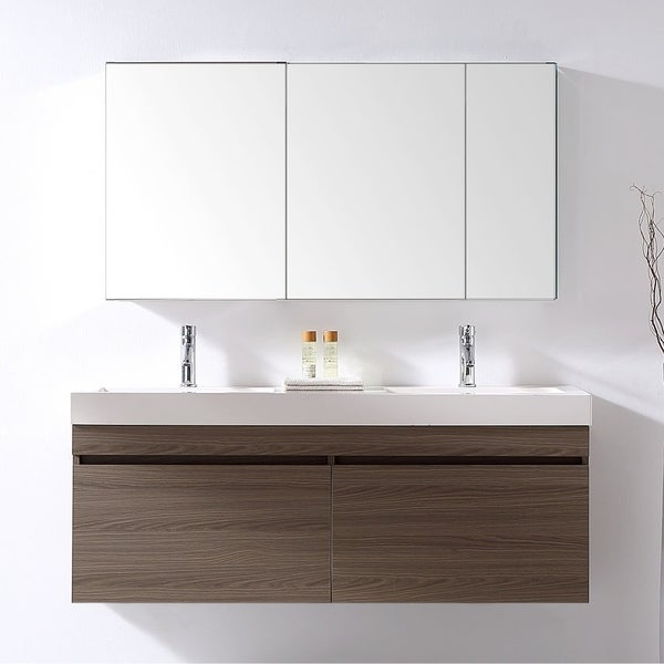 shop zuri 55 inch ultra modern double vanity set faucet options no mirror free shipping today. Black Bedroom Furniture Sets. Home Design Ideas