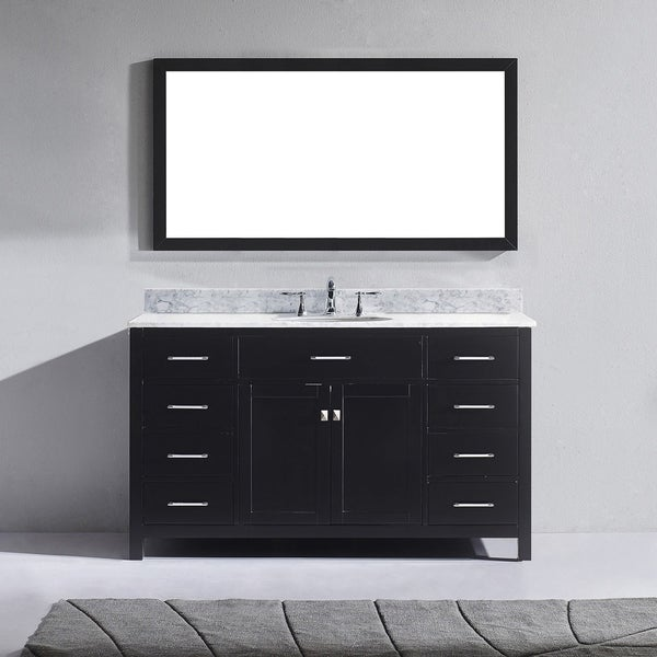 Caroline 60 Inch Single Vanity Cabinet White Marble Top Sink Option