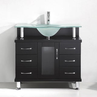 Vincente 36-in Single Bathroom Vanity Set with Glass Top Options