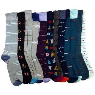 12 Pairs Mens Dress Socks, Colorful Patterned Fashion Dress Socks