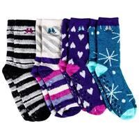 4 Pairs Womens Fuzzy Socks, Non Skid Slipper Socks, Gripper Sock Sole, Furry Fluffy Soft