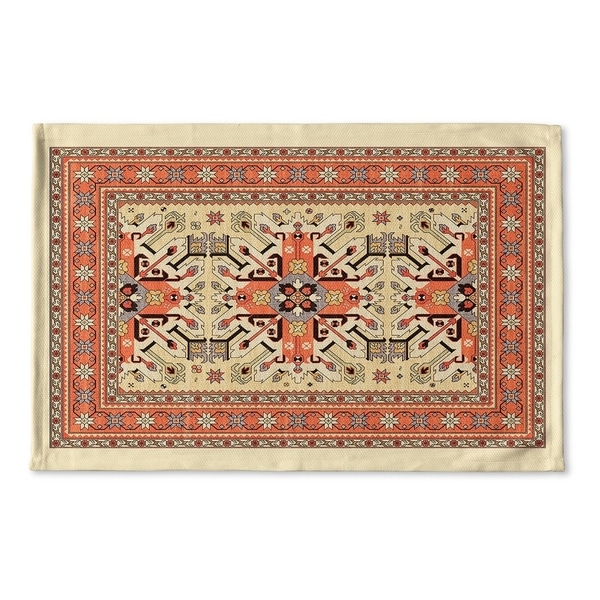 Kavka Designs Tan/Orange/Blue Star Kazak Ivory Flat Weave Bath mat (2' x 3')