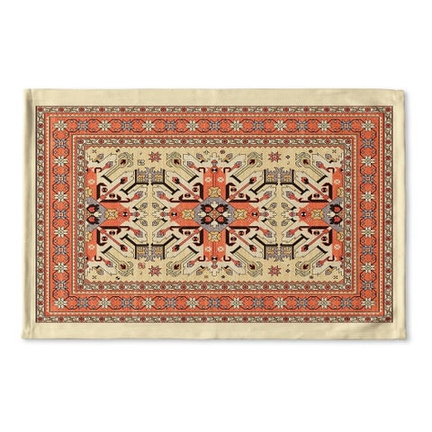 Kavka Designs Tan/Orange/Blue Star Kazak Ivory Flat Weave Bath mat (2' x 3')