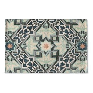 Kavka Designs Green/Grey/Blue Barcelona Flat Weave Bath mat (2' x 3')