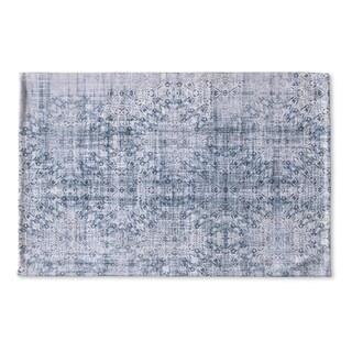 Kavka Designs Blue Medallon Blue Flat Weave Bath mat (2' x 3')