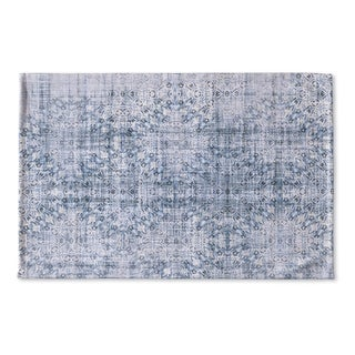 Kavka Designs Blue Medallon Blue Flat Weave Bath mat (2' x 3')