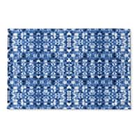 Kavka Designs Blue Shibori Mirror Flat Weave Bath mat (2' x 3')