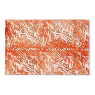 Kavka Designs Orange/White Orange Palm Flat Weave Bath mat (2' x 3')