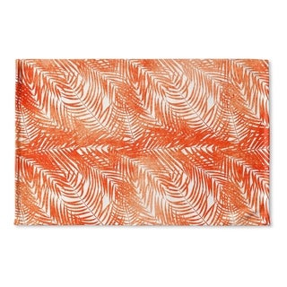 Kavka Designs Orange/White Orange Palm Flat Weave Bath mat (2' x 3')