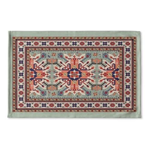 Kavka Designs Green/Red/Blue/Ivory Star Kazak Light Green Flat Weave Bath mat (2' x 3')