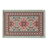 Kavka Designs Green/Red/Blue/Ivory Star Kazak Light Green Flat Weave Bath mat (2' x 3')