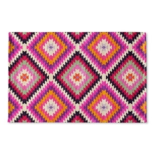 Kavka Designs Purple/Pink/Tan Dakha Pink Flat Weave Bath mat (2' x 3')