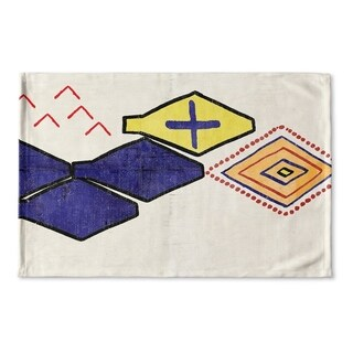 Kavka Designs Red/Blue/Orange/Ivory Bousslama Flat Weave Bath mat (2' x 3')