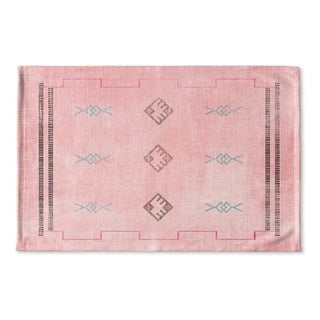 Kavka Designs Pink/Blue/Grey Sidra Pink Flat Weave Bath mat (2' x 3')