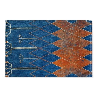 Kavka Designs Blue/Orange Mestara Flat Weave Bath mat (2' x 3')