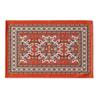 Kavka Designs Orange/Green/Gold/Blue Star Kazak Rust Flat Weave Bath mat (2' x 3')