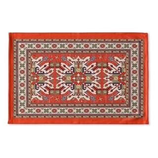 Kavka Designs Orange/Green/Gold/Blue Star Kazak Rust Flat Weave Bath mat (2' x 3')
