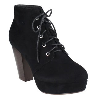 Beston EI44 Women's Lace Up Stacked Chunky Heel Platform Ankle Bootie