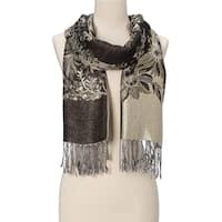Beautifully Designed Ladies Silk Metallic Blend soft Pashmina Scarf (Dark moss green - Large