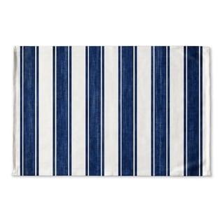 Kavka Designs Blue/White Nautical Stripe Flat Weave Bath mat (2' x 3')