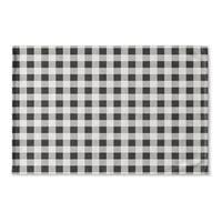 Kavka Designs Black/Grey/Ivory BW Gingham Flat Weave Bath mat (2' x 3')
