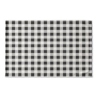 Kavka Designs Black/Grey/Ivory BW Gingham Flat Weave Bath mat (2' x 3')