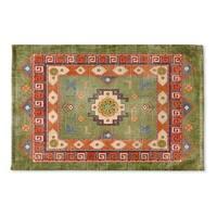 Kavka Designs Green/Orange/Blue Oma Green Flat Weave Bath mat (2' x 3')