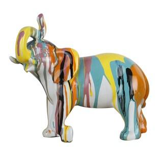 9.5X8.5X5 Elephant Ceramic Sculpture