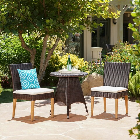 Santa Barbara Outdoor 3-Piece Round Wicker Bistro Set with Cushions & Umbrella Hole by Christopher Knight Home
