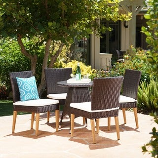 Santa Barbara Outdoor 5-Piece Round Wicker Dining Set with Cushions & Umbrella Hole by Christopher Knight Home