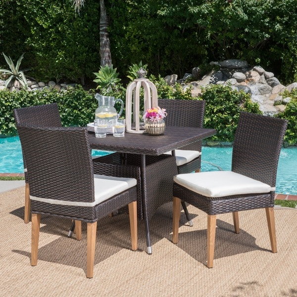 Santa Barbara Outdoor 5-Piece Square Wicker Dining Set with Cushions by Christopher Knight Home & Shop Santa Barbara Outdoor 5-Piece Square Wicker Dining Set with ...