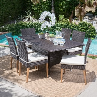 Santa Barbara Outdoor 7-Piece Rectangular Wicker Dining Set with Cushions by Christopher Knight Home