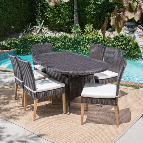 Santa Barbara Outdoor 7-Piece Oval Wicker Dining Set with Cushions by Christopher Knight Home