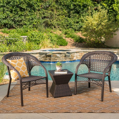 Madison Outdoor 3-Piece Square Wicker Chat Set by Christopher Knight Home