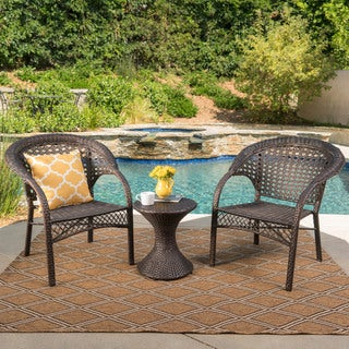 Bradford Outdoor 3-Piece Round Wicker Chat Set by Christopher Knight Home